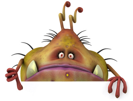 antennae: Cartoon germ monster showing thumbs up