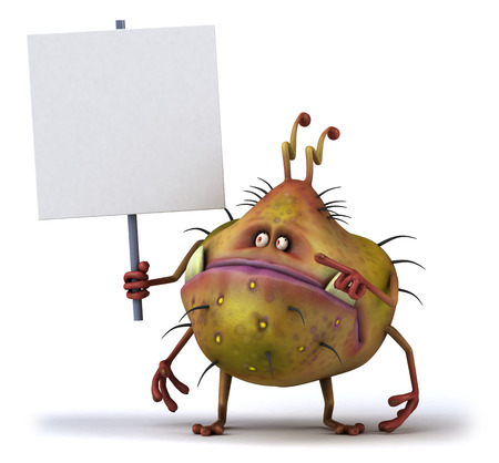 space antenna: Cartoon germ monster holding signboard Stock Photo