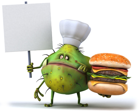 antennae: Cartoon germ monster with chef hat holding signboard and a burger Stock Photo