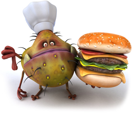 Cartoon germ monster with chef hat holding a burger showing thumbs down