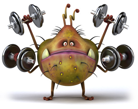 Cartoon germ monster is lifting weight