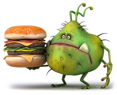 antennae: Cartoon germ monster with a burger