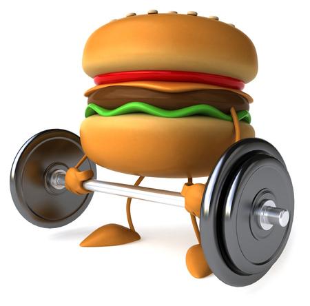 Burger character lifting barbell