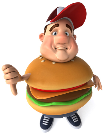 Fat man character in burger costume gesturing thumbs down