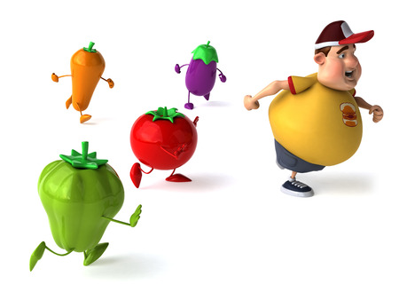 Fat man running away from healthy vegetables Фото со стока