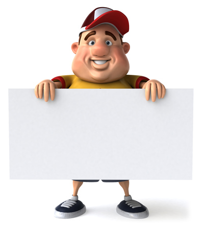 Fat man character with signboard