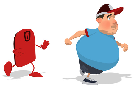 Fat man character running away from a weigh scale Stock Photo