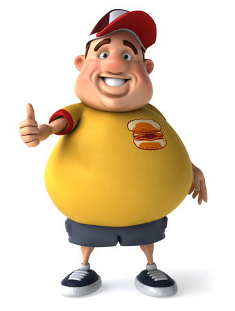 Fat man character gesturing thumbs up Stock Photo