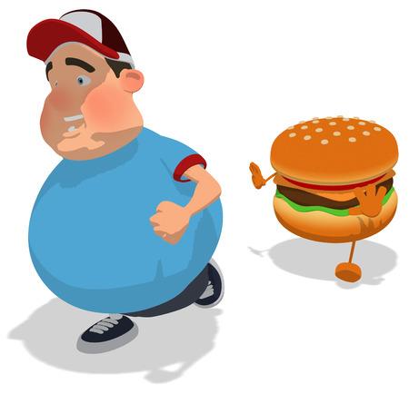 Burger character chasing a fat man