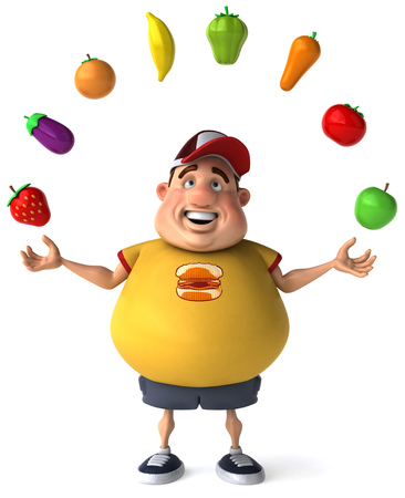 Fat man character juggling fruits and vegetables Stock Photo
