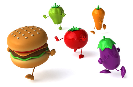 Burger with fruits and vegetable characters