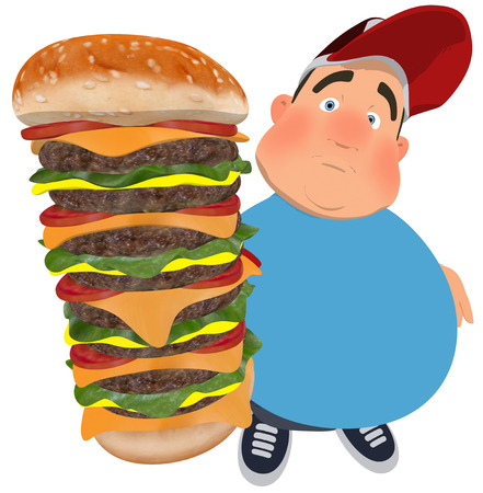 Fat man character holding a huge burger Stock Photo