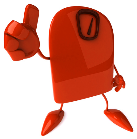 Weighing scale character gesturing thumbs up