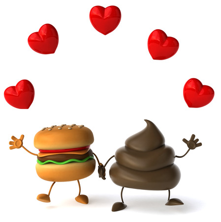 Poop character with burger character holding hands