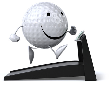 Golf ball character on treadmill