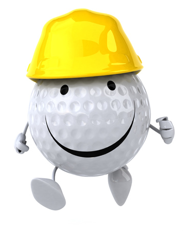 Golf ball character wearing hard hat