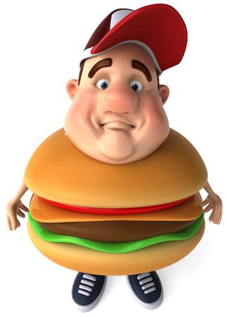 Carácter de hombre gordo en traje de hamburguesa Foto de archivo