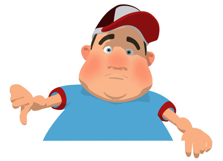 Fat man character gesturing thumbs down Stock Photo