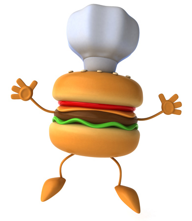 Burger character with chefs hat
