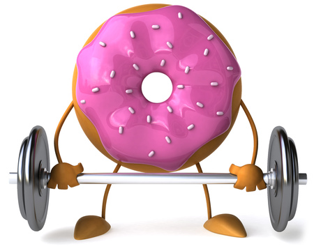 Donut character with barbell