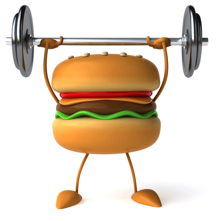Burger character lifting barbell Stock fotó - 83072106