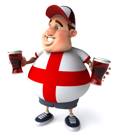 Fat man holding glasses of beers Stock Photo