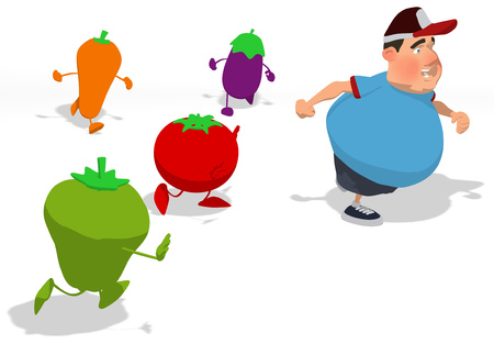 Fat man running away from healthy fruits and vegetables