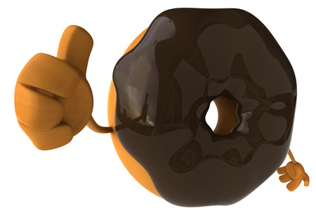 Donut character gesturing thumbs up Stock Photo