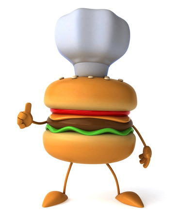 Burger character wearing chefs hat gesturing thumbs up