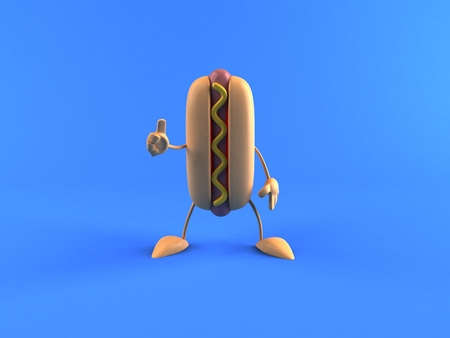 Hotdog character gesturing thumbs up Stock Photo