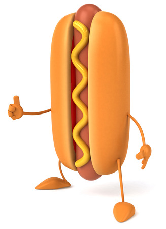 legs up: Hotdog character gesturing thumbs up Stock Photo