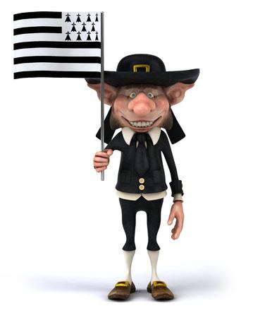 Korrigan character holding the flag of breton