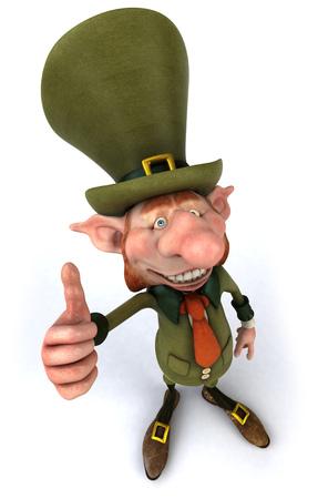 Leprechaun character gesturing thumbs up