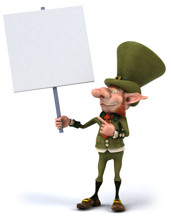 Leprechaun character holding a signboard