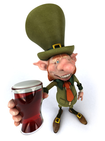 Leprechaun character holding a glass of beer