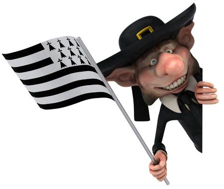 cheeky: Korrigan character holding the flag of breton