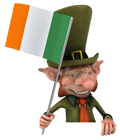 cheeky: Leprechaun character holding irish flag