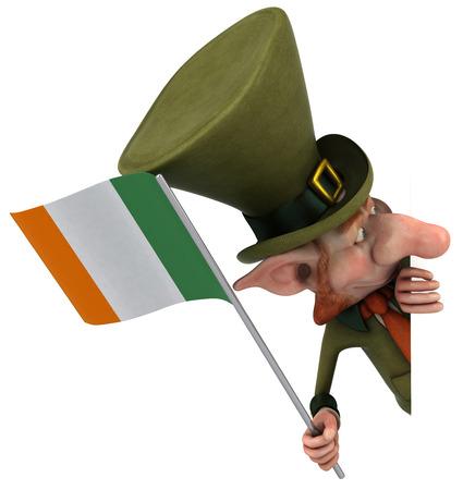 Leprechaun character holding irish flag