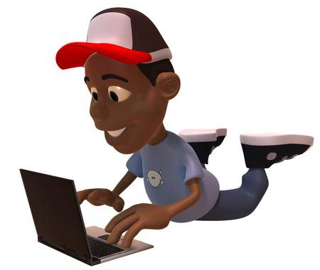 Boy wearing cap with laptop