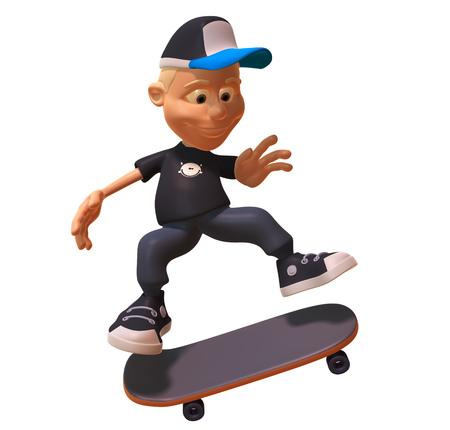 Boy wearing cap and skateboarding