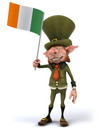 Leprechaun character holding irish flag Zdjęcie Seryjne - 81929412