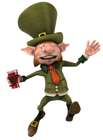cheeky: Leprechaun character holding a glass of beer