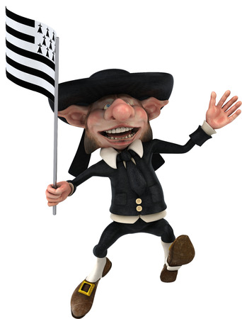 Korrigan character holding the flag of breton