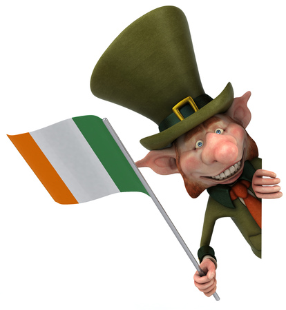 Leprechaun character holding irish flag