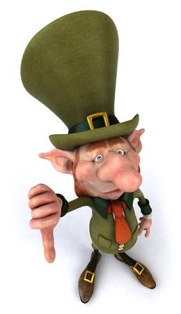 Leprechaun character gesturing thumbs down Stock Photo