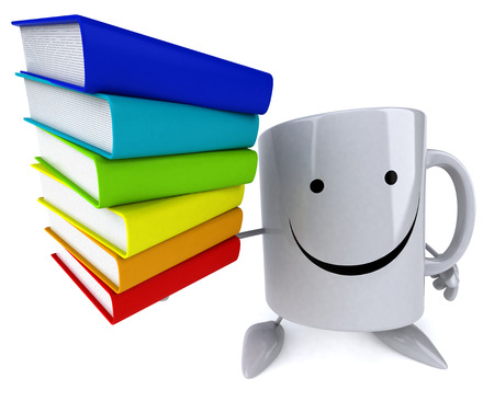 Mug character holding a stack of books Stock Photo