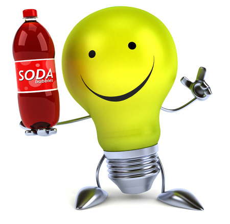 Light bulb character holding a soft drink bottle Stock Photo