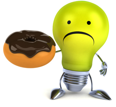 fried: Light bulb character feeling sad holding a donut