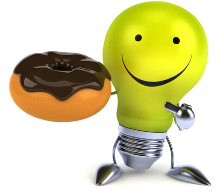 fried: Light bulb character holding a donut