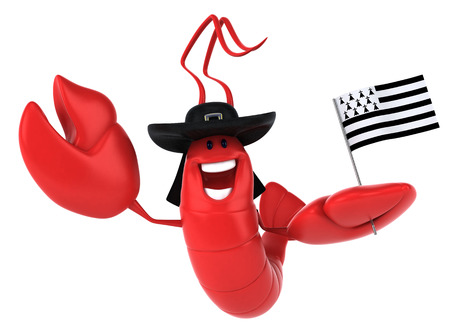 Lobster wearing hat and holding flag of brittany Stock Photo